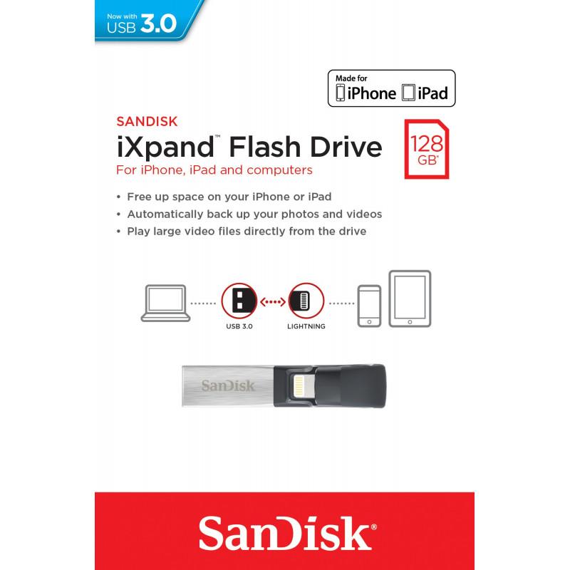 Support de Stockage Sandisk iXpand 128 Go USB 3.0
