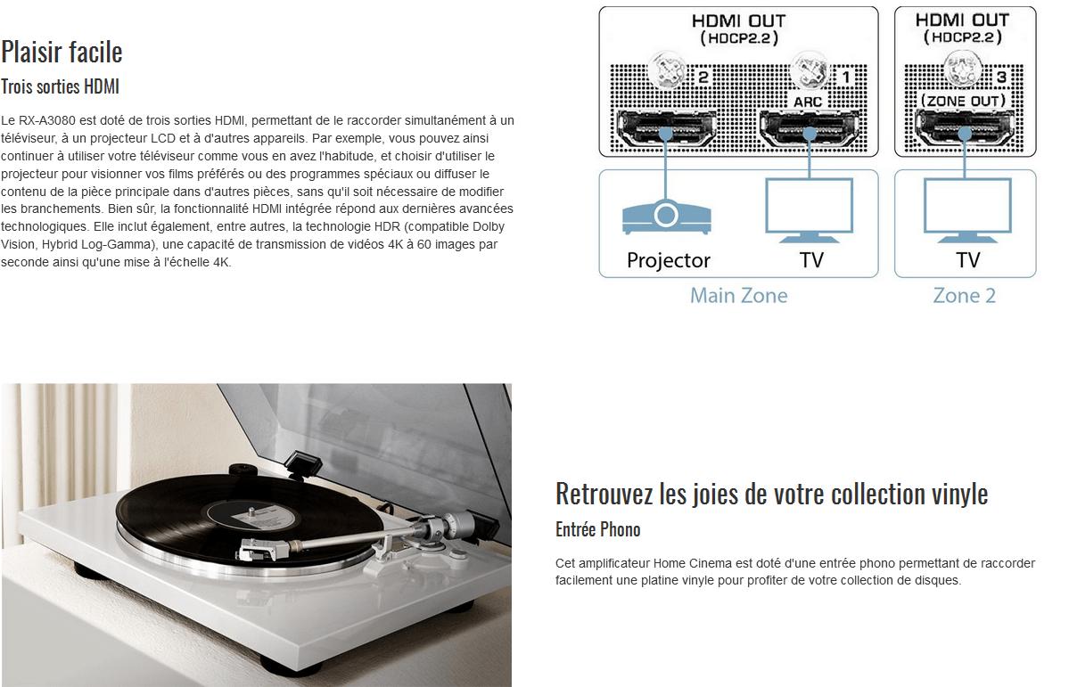 Amplificateur Home Cinema RXA3080 NOIR